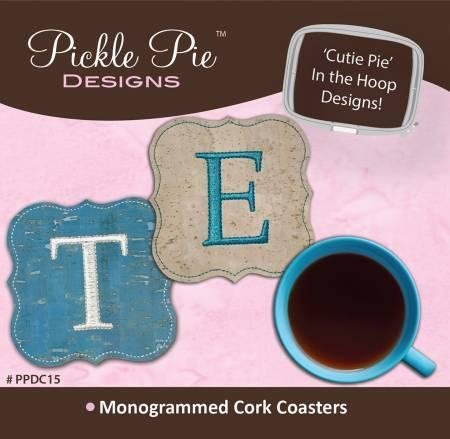 Monogrammed Cork Coasters Pickle Pie PPDC15