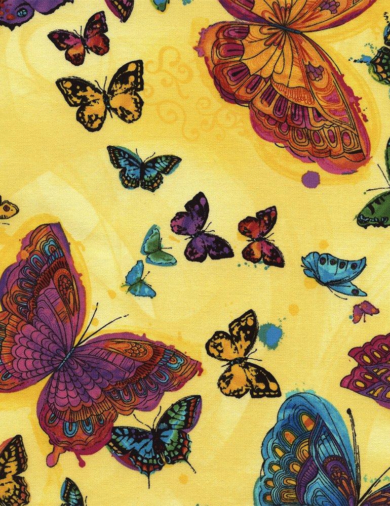 Monterey-C3991-Yellow Allover Butterflies