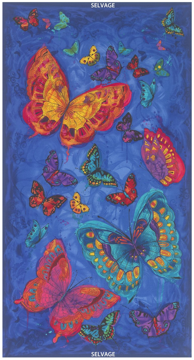24″ Butterfly Panel Monterey-C3990-Blue PAnel Timeless Treasure