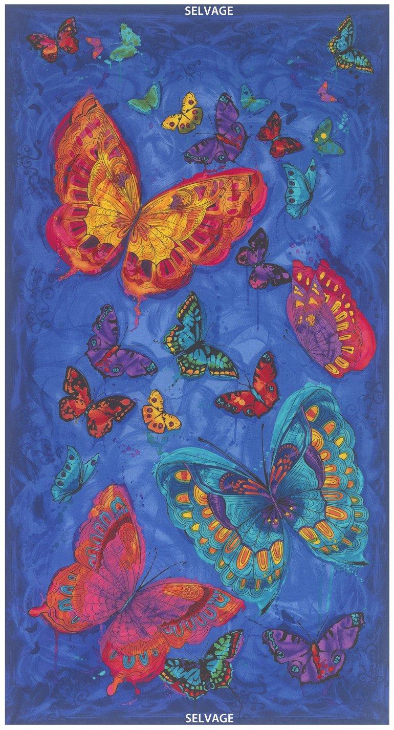 24″ Butterfly Panel Monterey-C3990-Blue PAnel Timeless Treasure