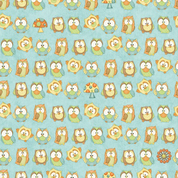 Hoot Hoot Hooray by Shelly Comisky for Henry Glass - Owls in Blue