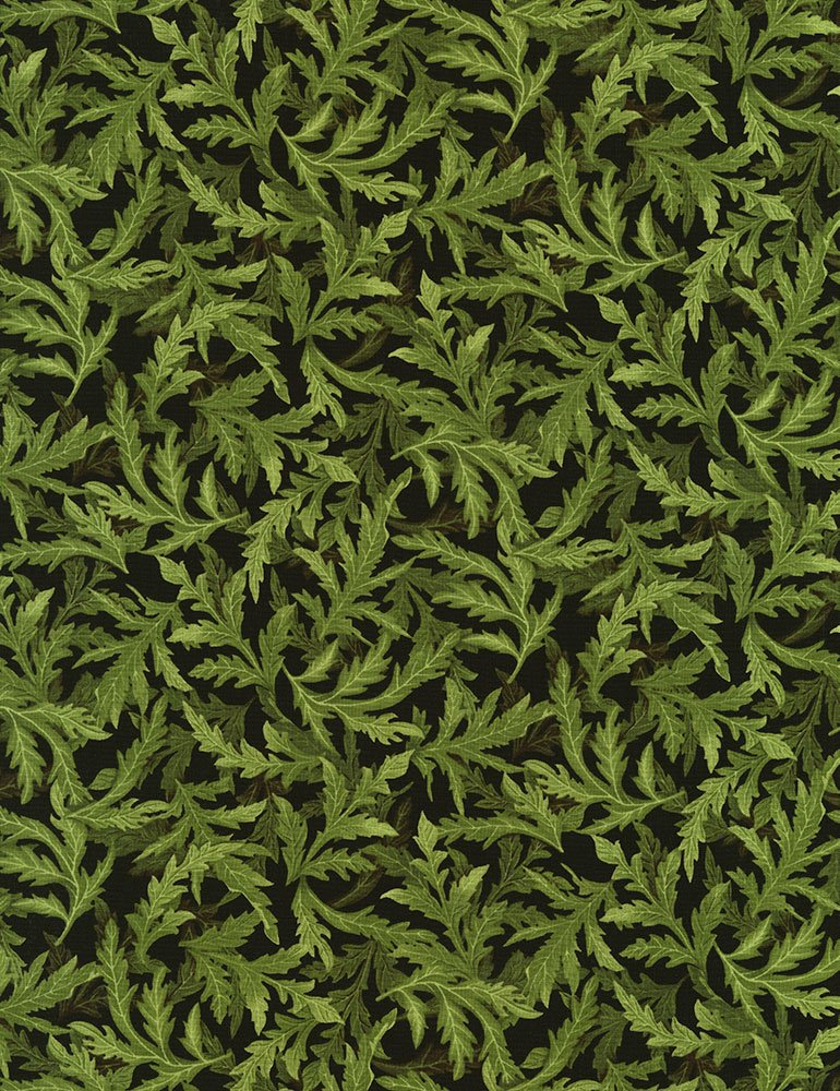Tossed Leaves Poppies-C5839-Green Timeless Treasures