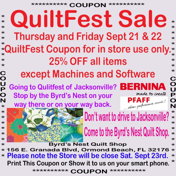 Quiltfest Coupon