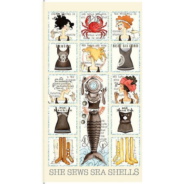 She Sews Sea Shells 1649-25800-E Quilting Treasures