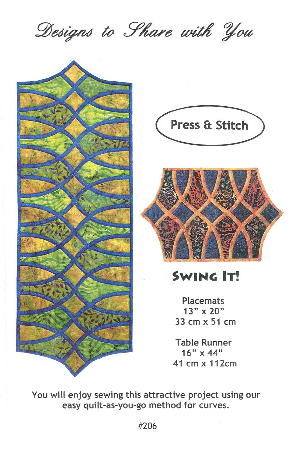 Swing It! Table Runner Placemat DSY206 Pattern