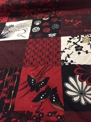 Oriental Print Red/Black 6 squares