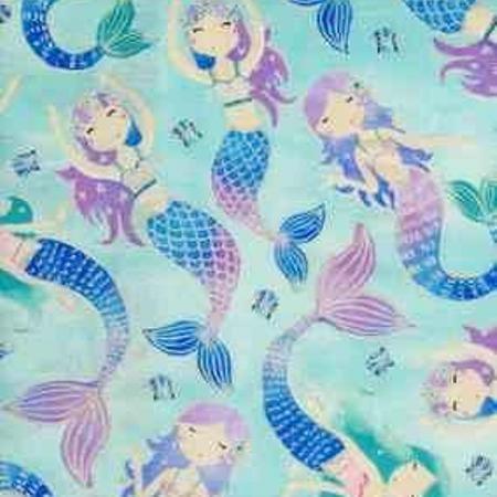 0120 Timeless Treasures Kidz CM7788 Aqua Mermaids