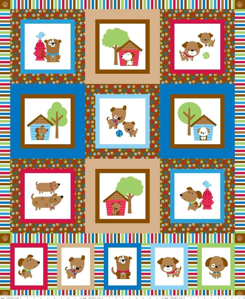 Riley Blake Puppy Love C6936 Red Panel