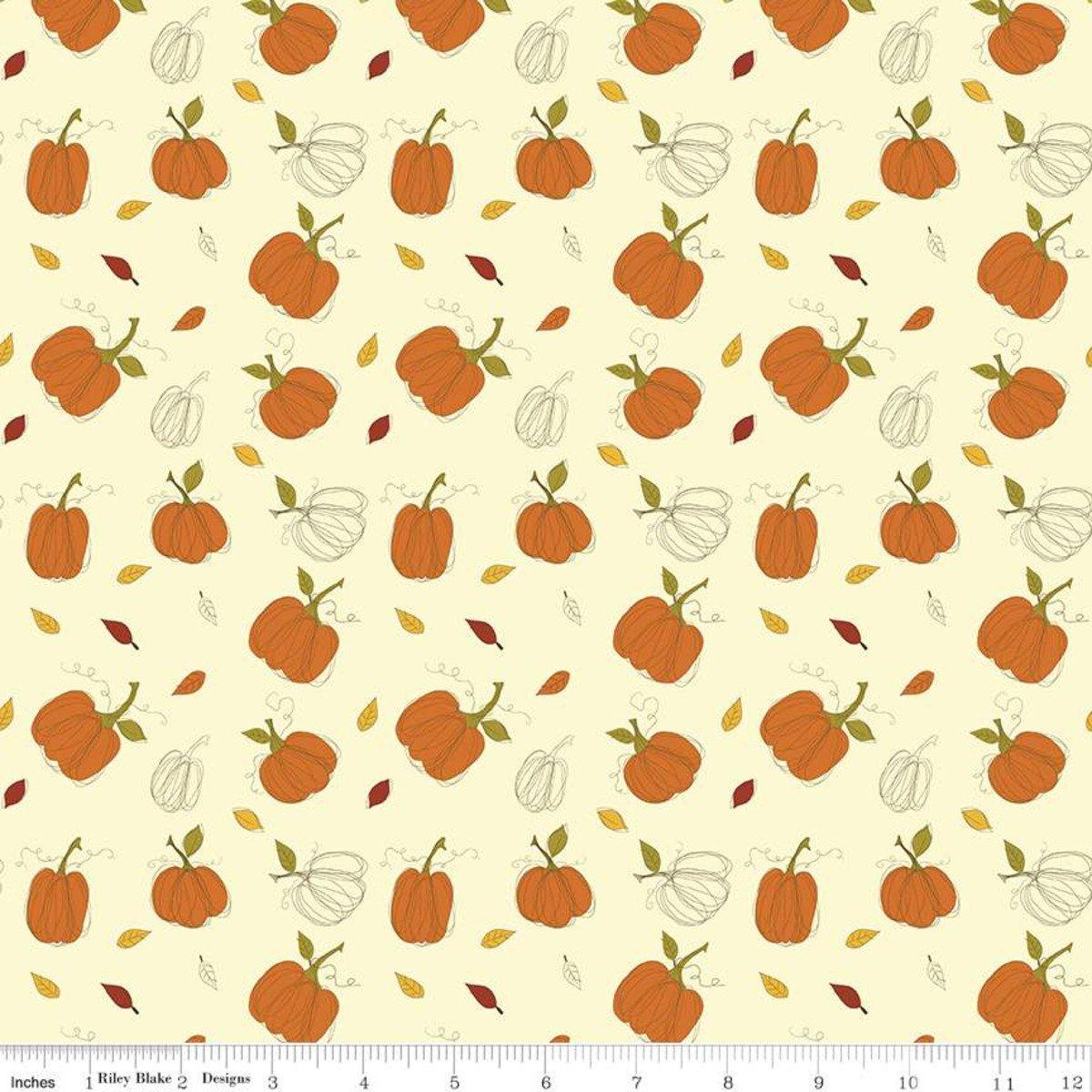 Riley Blake Adel In Autumn Pumpkins C10821 Cream