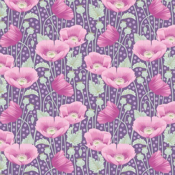 Tilda Garden Life  - Poppies Lilac TIL100306