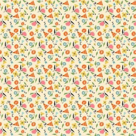 Yellow Spirit Floral- Elephant Joy - Digital Print - 10414B-03