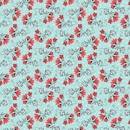 Teal Fun With Flowers - Elephant Joy - Digital Print - 10415B-84