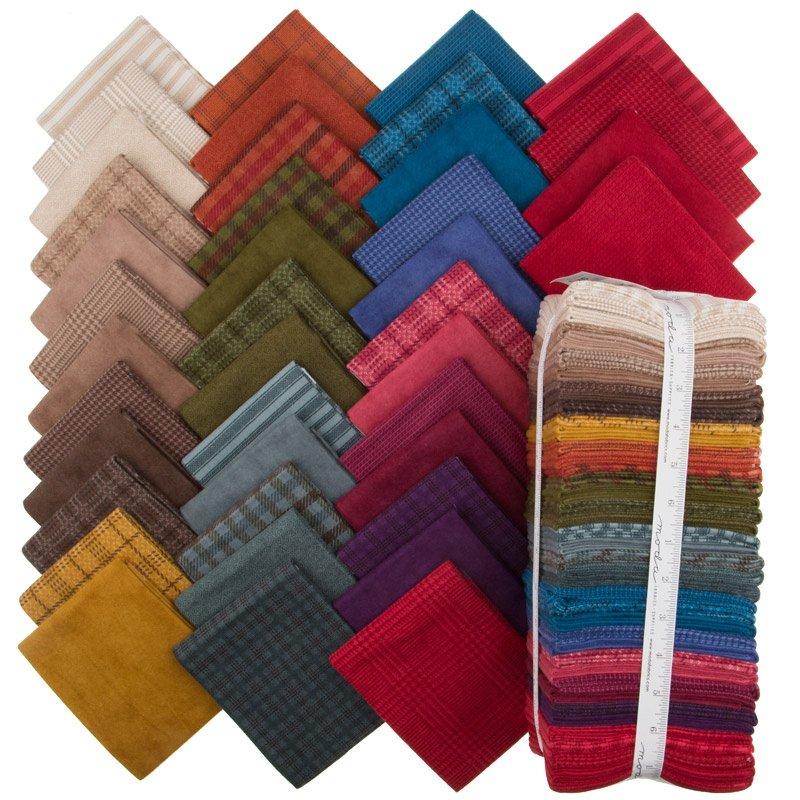 Wool & Needle Flannels VI Fat Quarter Bundle by Primitive Gatherings - 1250ABF