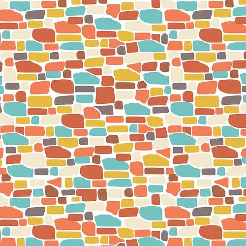 Orange/Aqua Bricks - Ain't Life a Hoot - Q1482-34