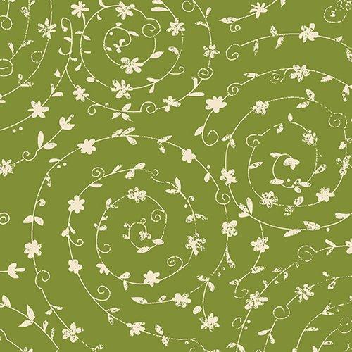 Green Swirling Vines - Ain't Life a Hoot - Q1483-66