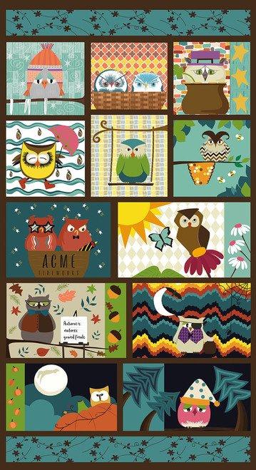 Multi Colored Owl 24 Panel - Ain't Life a Hoot - Q1487P-77
