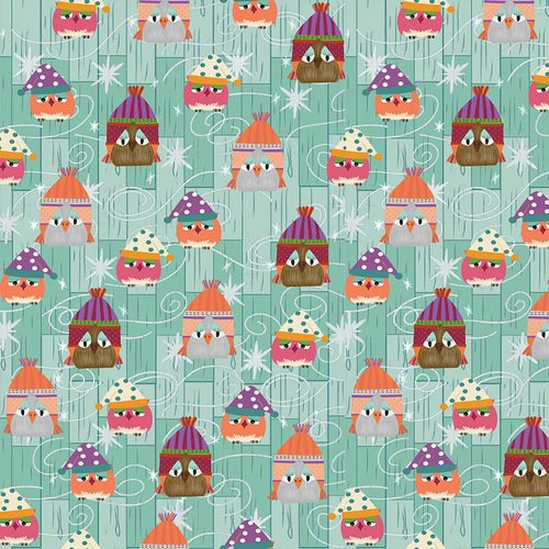 Aqua Owls in Winter Hats - Ain't Life a Hoot - Q1489-11