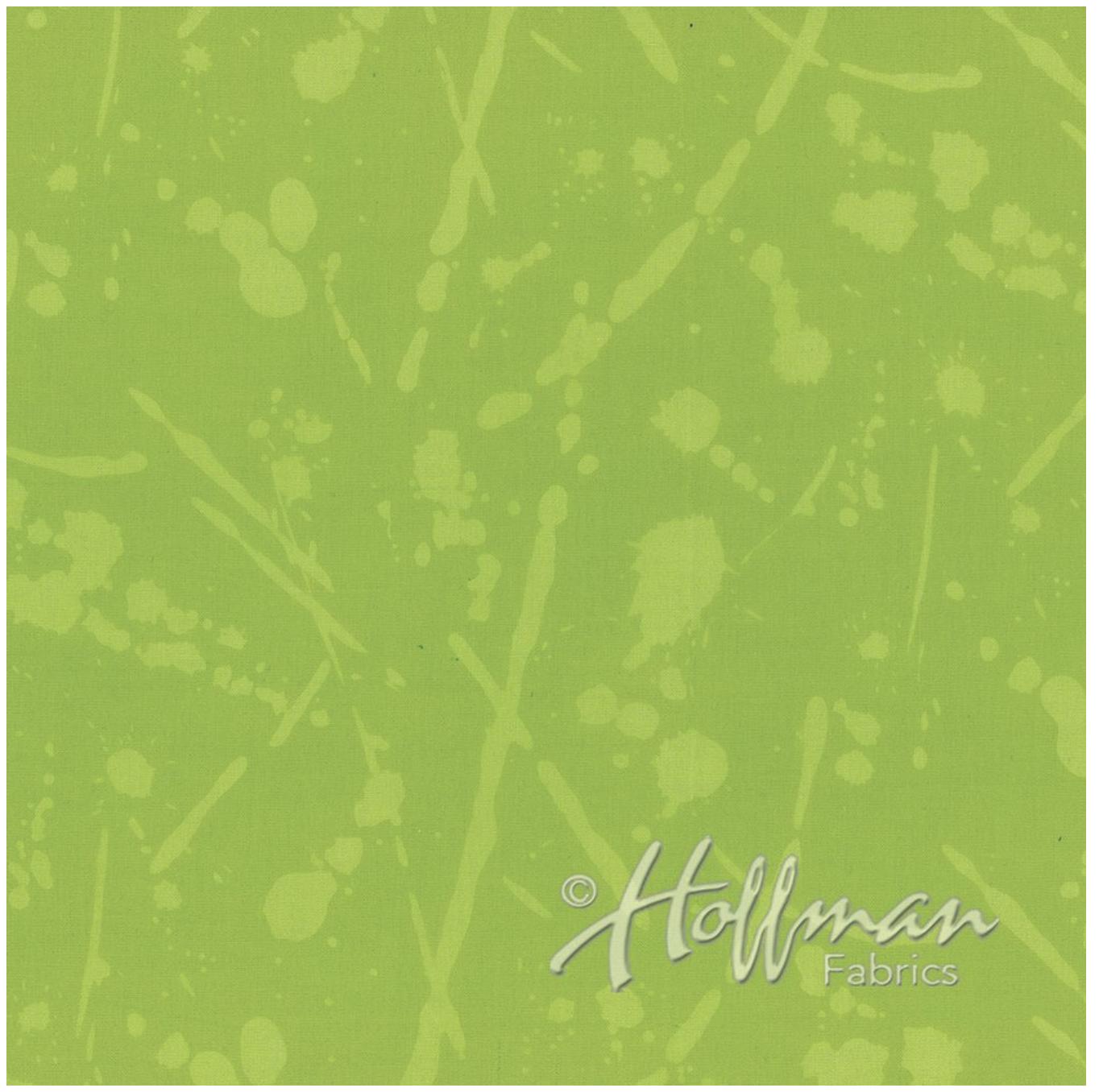 Line Splatter Lime - Hand Dyed Batiks - Me + You Hoffman Fabrics 152-71