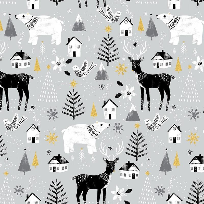 Gray Glitter - Animals - Peace on Earth - 18091-GRY