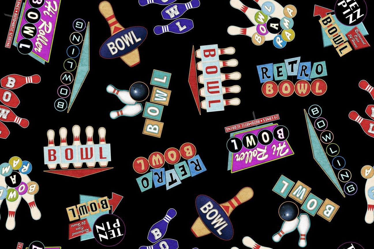 Black - Retro Bowling Signs - Bowl-A-Rama - 26700 J