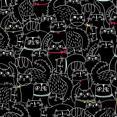 Black - Sketched Cat - Cat Fish - 26730 J