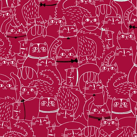 Red - Sketched Cat - Cat Fish - 26730 R