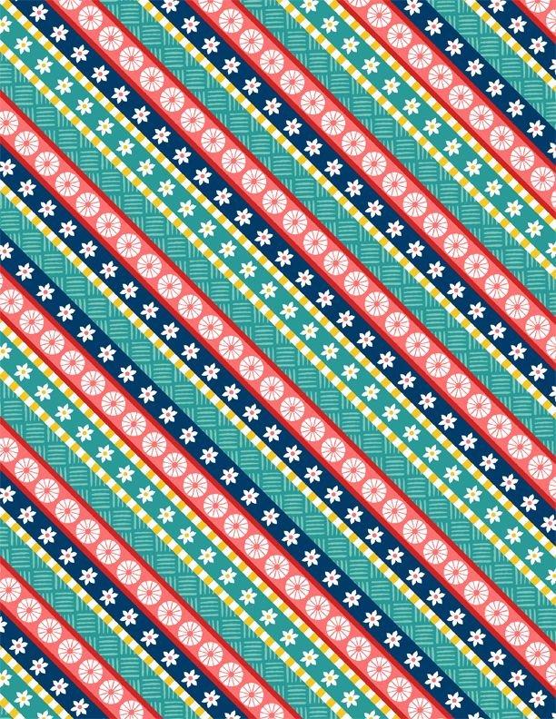 Blue Red Green Diagonal Stripe - Gone Glamping - 3007-68489-734