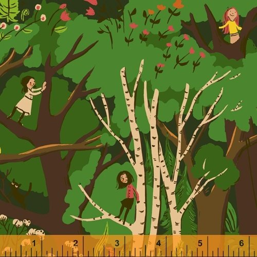 Green Climbing Trees - Heather Ross 20th Anniversary Collection - 40927A-2