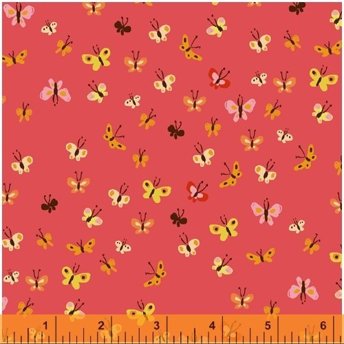 Coral Butterflies - Heather Ross 20th Anniversary Collection - 40933A-9