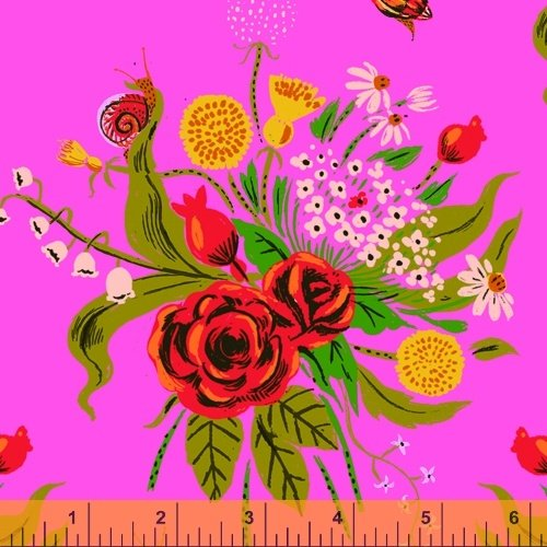 Pink Wild Flowers - Heather Ross 20th Anniversary Collection - 42205A-1