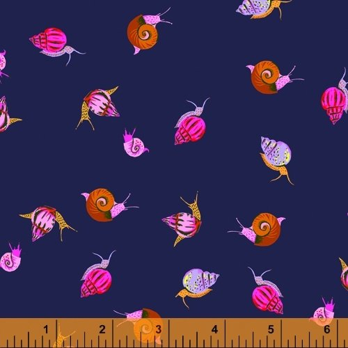 Indigo Snails - Heather Ross 20th Anniversary Collection - 42209A-3