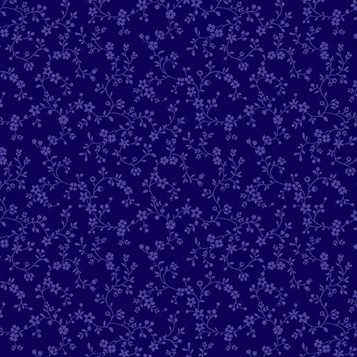 Navy - Flowery Vines - Color Theory - 9809-55