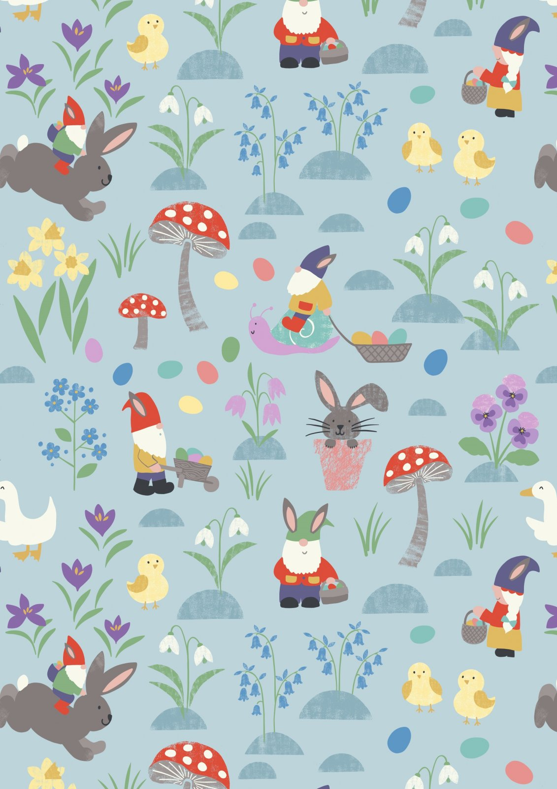 Jolly Egg Hunt on Spring Blue - Jolly Spring - by Lewis & Irene - LEIA339-3