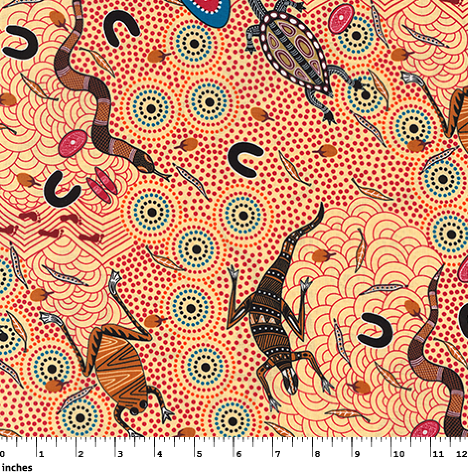 ECRU - AROUND WATERHOLE - AWE - Aboriginals by M & S Textiles Australia