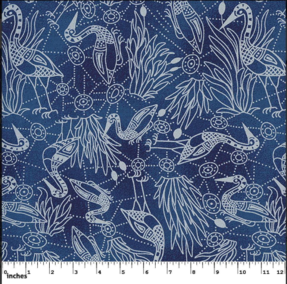 BLUE - BROLGA DREAMING BLUE - BDBL - Aboriginals by M & S Textiles Australia