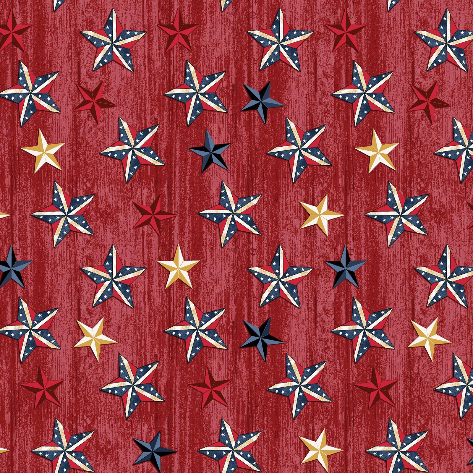 Red Stars on Wood - American Rustic - BEN6333-10