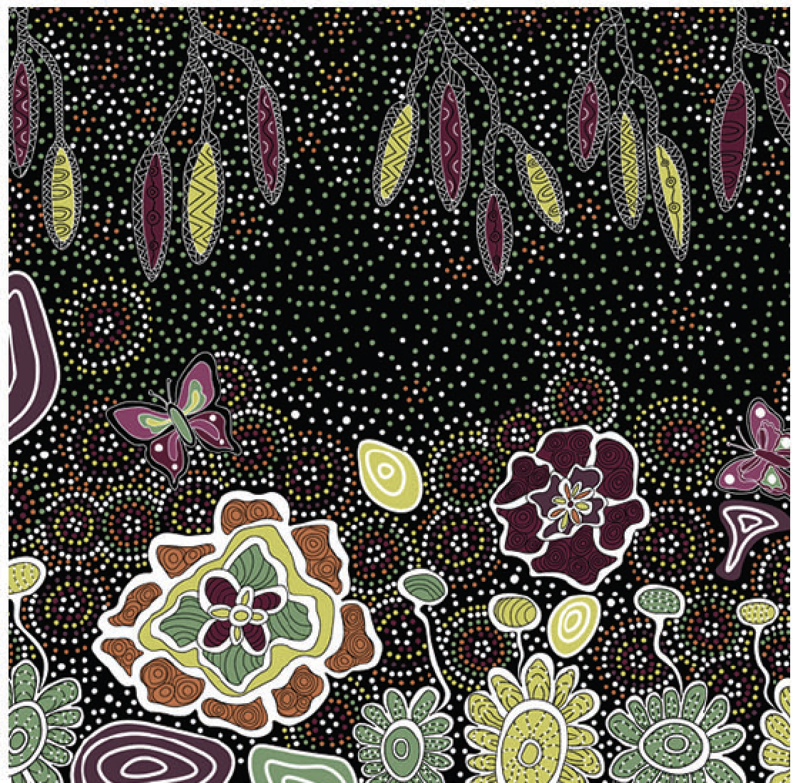 BLACK - SUMMERTIME RAINFOREST - SRFB - Aboriginals by M & S Textiles Australia