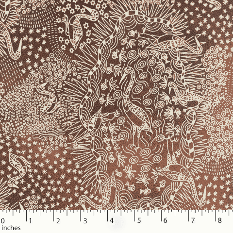 Brown - BROLGA LIFE BROWN -BLBR -  Aboriginals by M & S Textiles Australia
