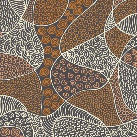 Brown - BUSH COCONUT DREAMING BROWN - BCDBR - Aboriginals by M & S Textiles Australia