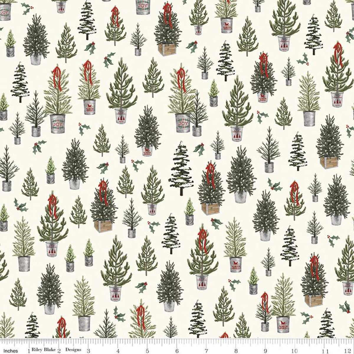 Cream - Christmas Trees - Farmhouse Christmas - C10951-CREAM