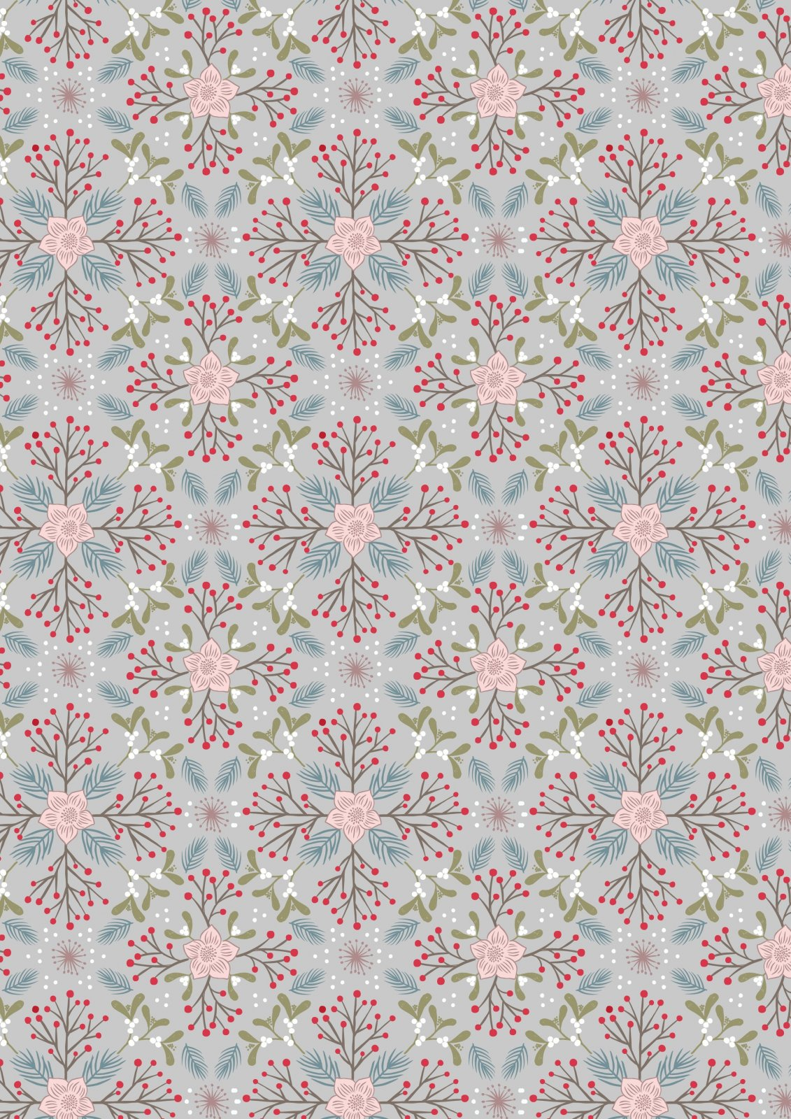 Grey Winter Floral - Winter in Bluebell Wood - Lewis & Irene - LEIC45-2