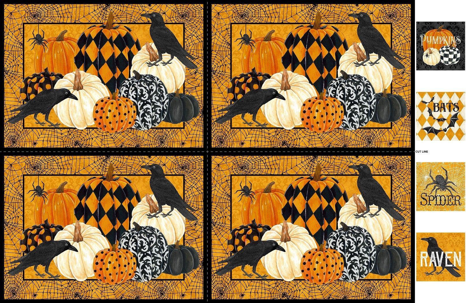 Pumpkin Squares Panel - Raven's Claw - DP22878 54