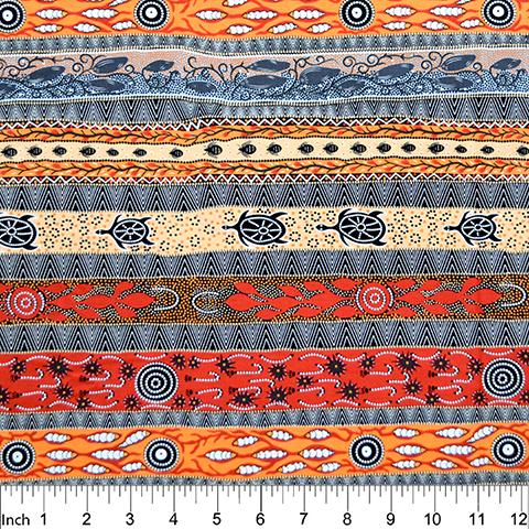 Flame Orange - Dreaming in One - Aboriginals by M & S Textiles Austrailia - DROFO