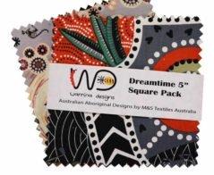 Dreamtime Square Pack Five Inch -Multi - Aboriginals by M & S Textiles Australia