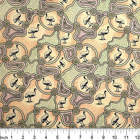 Ecru - Emu Dreaming - Aboriginals by M & S Textiles Austrailia - EDRE