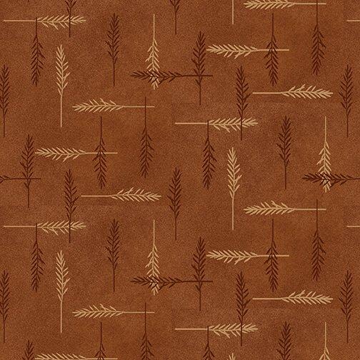 Rust - Feathers - Folk Art 4 Flannels - F2584-35