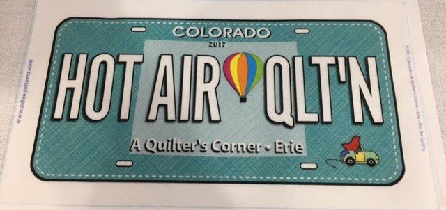 HOT AIR QLT'N Row by Row License FabricPlate
