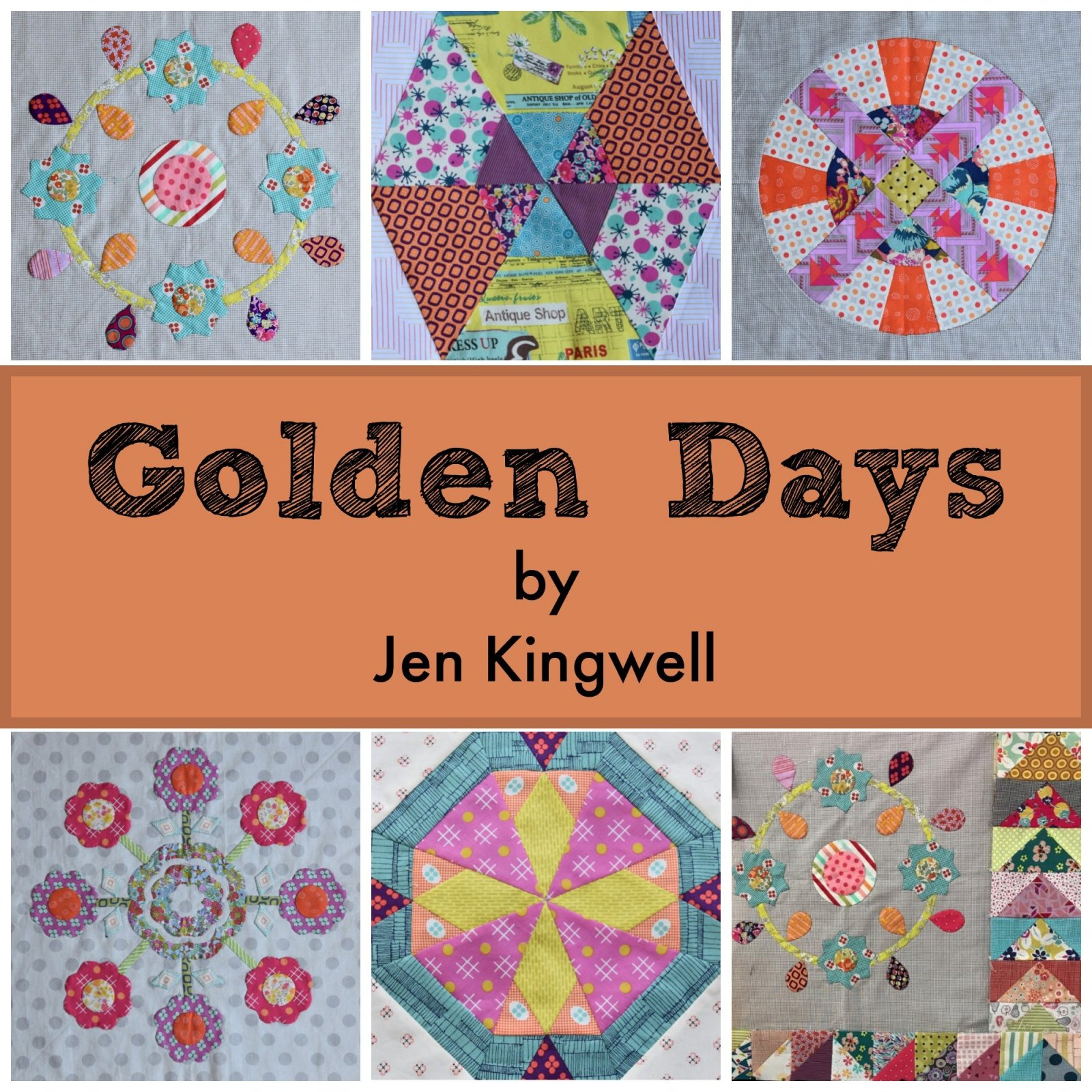 Jen Kingwell Golden Days Templates and Fabrics - Shipping included