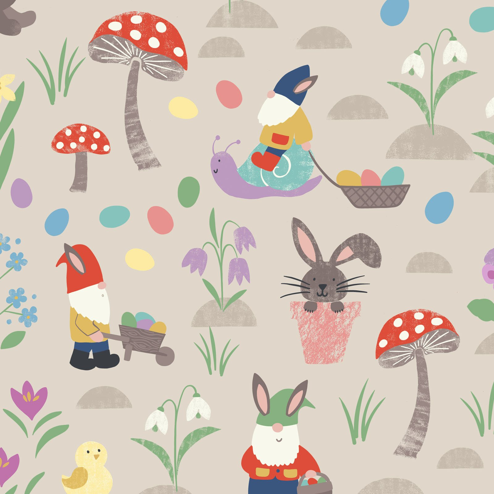 Jolly Egg Hunt on Dark Cream - Jolly Spring - by Lewis & Irene - LEIA339-1