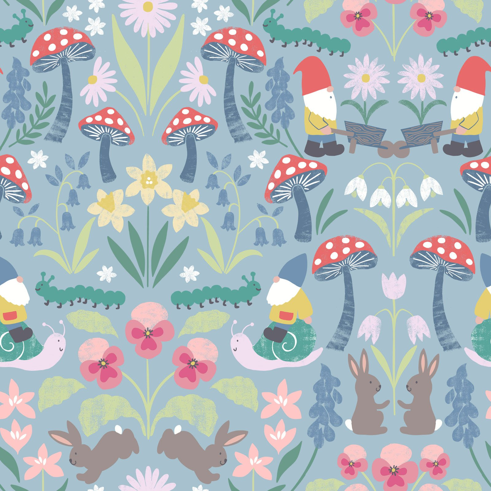 Jolly Spring on Blue - Jolly Spring - by Lewis & Irene - LEIA341-2